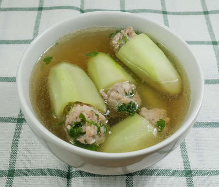 Thai Cuisine and Food, A Bowl of Delicious Cucumber Soup Stuffed with Minced Pork.