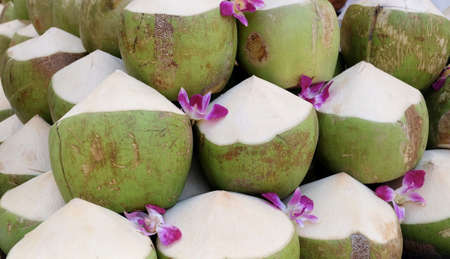 Fresh Fruits, Pile of Fresh Coconut Water Fruits, A Popular Drink in The Tropical Countries. Stock Photo