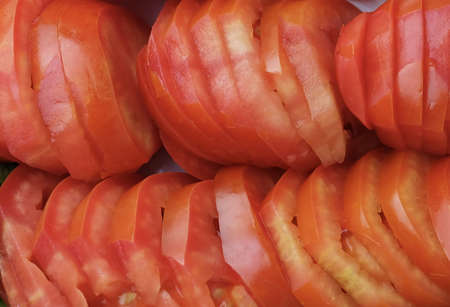Vegetable, Close Up of Fresh Ripe Sliced Red Tomatoes. High in Vitamin C and A.