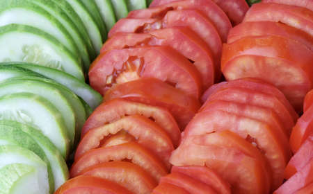 Vegetable, Close Up of Fresh Ripe Tomato with Cucumbers.
