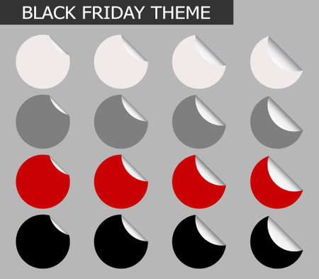 Vector Set of Black Friday Round Banner or Label with Curled Edge, Copy Space for Add Content and Text. 矢量图像