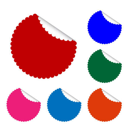 Vector Set of Round Banner or Label in Six Assorted Colors with Curled Edge, Copy Space for Add Content and Text.