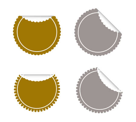 Vector Set of Gold and Silver Round Banner or Label with Curled Edge, Copy Space for Add Content and Text.