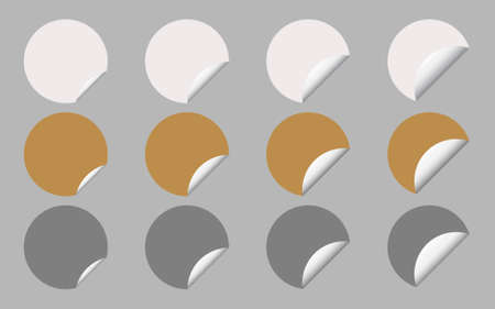 Vector Set of White, Gold and Silver Round Banner or Label with Curled Edge, Copy Space for Add Content and Text.