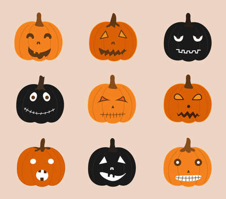 Holidays And Celebrations, Set of Jack-o-Lantern Pumpkins. Sign For Halloween Festival.