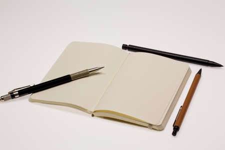 blank pages: Blank Pages and Pens Stock Photo