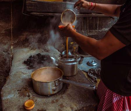 Roadside Indian style Hot Milk tea/Chai . Selective Focus is used.