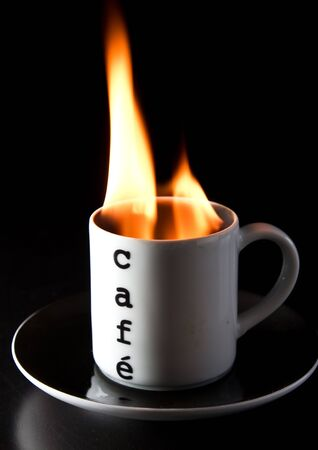 A cup of burning coffee Stock Photo - 8010848