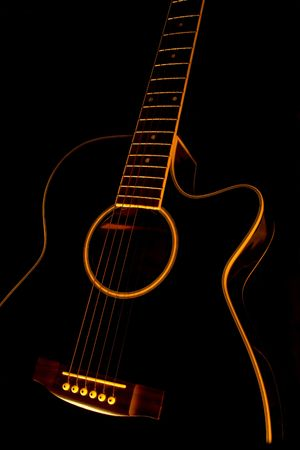 acoustic: Black guitar Stock Photo