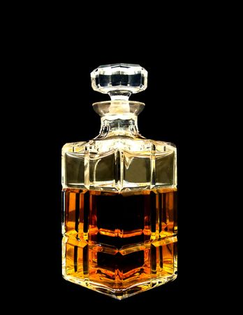 decanter: A crystal decanter with whiskey Stock Photo