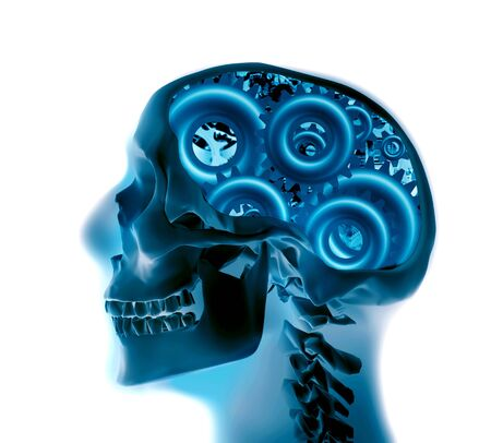 x-ray of a skull with gears Stock Photo - 8222180