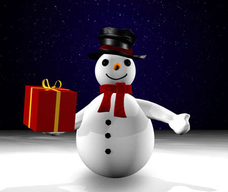 3d snowman giving a gift Stock Photo - 8348477