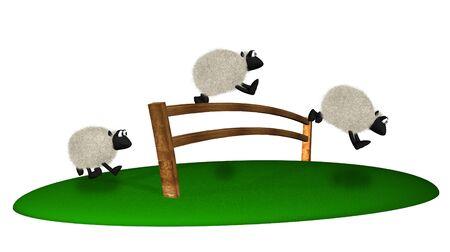 salto de valla: 3D ovejas saltando de la valla. Contar ovejas