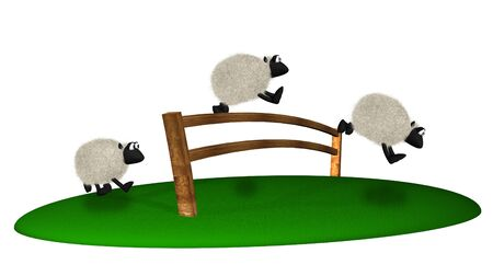 sheeps: 3d sheep jumping over fence. Counting sheeps Stock Photo