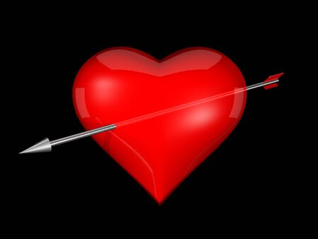3d red heart with a metal arrow photo