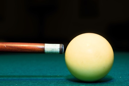 pool balls: snooker club and white ball in a billiard table