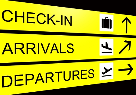 departure board: airport sign, arrivals, departure, check in