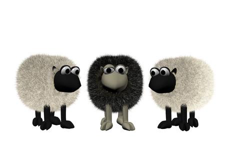 un mouton noir de b3d entre deux moutons blancs Banque d'images