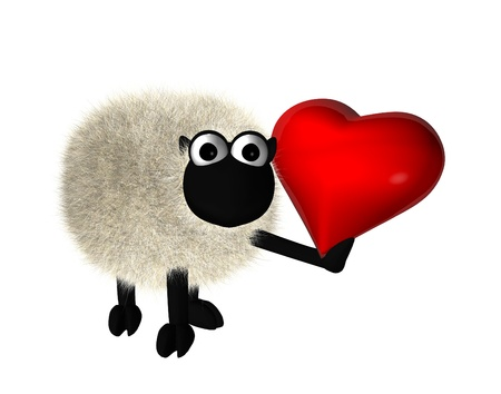 3d sheep with a red heart photo
