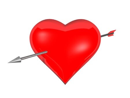 Red heart with metal arrow in white background photo