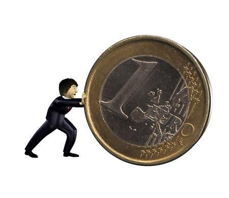 3d business man push a euro coin photo
