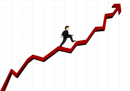 business man climbing a financial graph photo