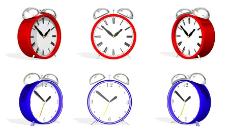 two 3d antique alarm clocks in various positions Stock Photo - 9454206
