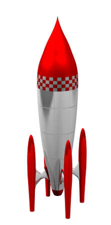 red and white 3d rocket in white background photo