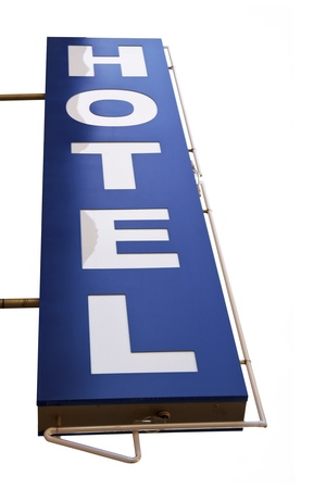 blue hotel sign in a white background photo