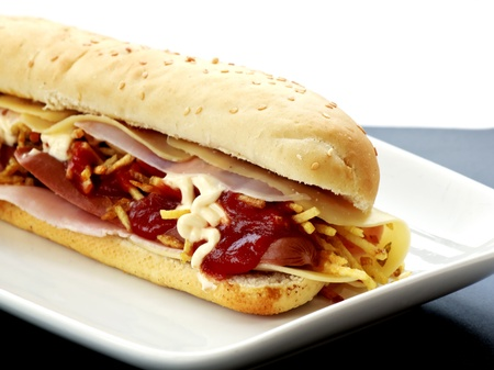 toasted: hot dog with cheese and ham Stock Photo