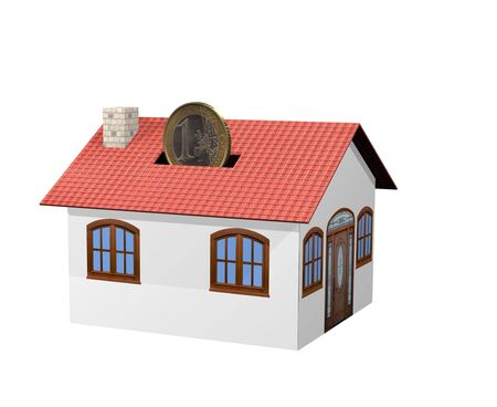 insert a euro coin in a moneybox house Stock Photo - 10060164