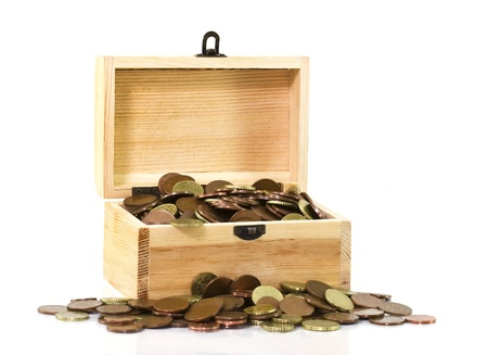 wooden chest with coins photo