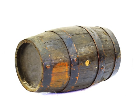 old wooden barrel in a white background photo