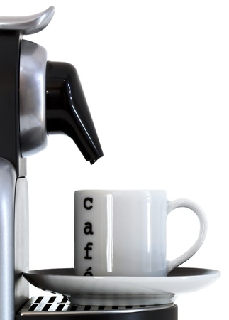 capuccino: coffee cup and expresso machine Stock Photo