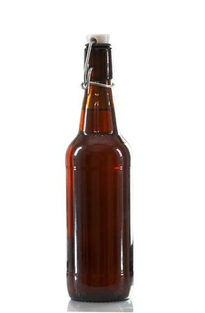 brown bottle: amber flip top beer bottle