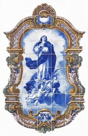 vintage tiles with angels and Holy Mary photo