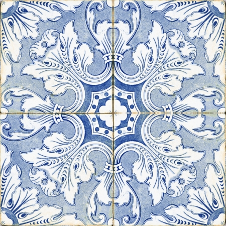vintage portuguese blue tiles photo