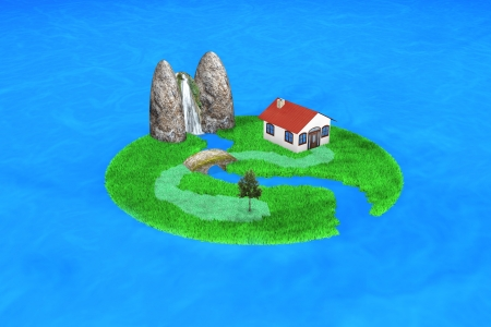 3d small island with an house photo
