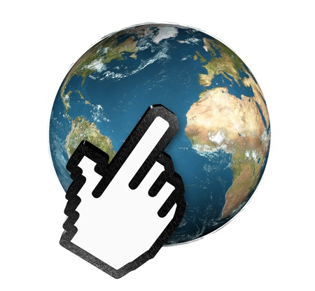 3d hand cursor clicking planet earth photo