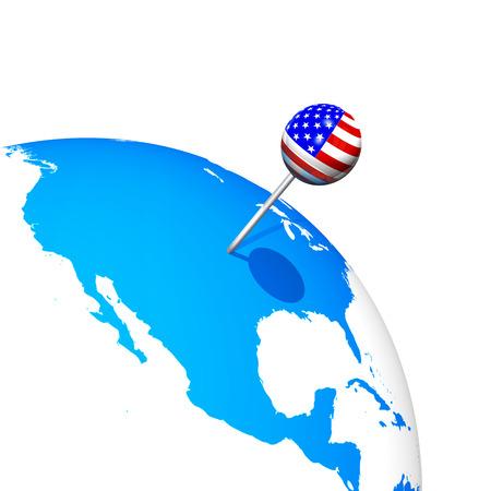3d USA pin in america map globe photo