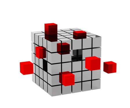 3d metallic cube with red cubes photo