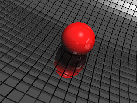 3d background with red ball and black mirrors photo