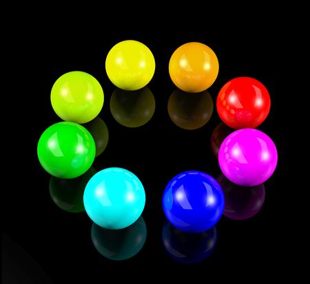 circle of 3d colorful balls photo