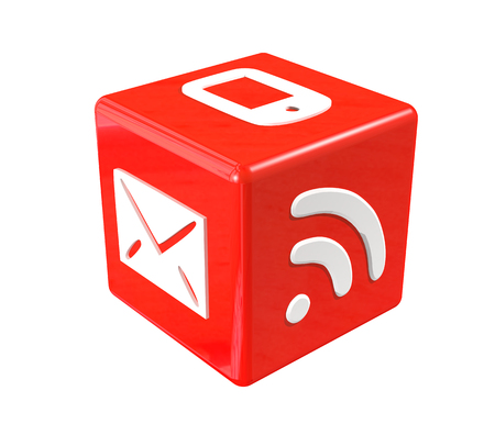 3d red cube with communication symbols photo