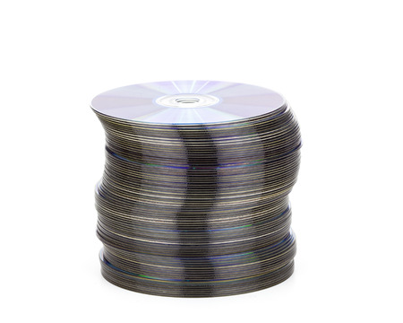 a pile of cd in a white background photo