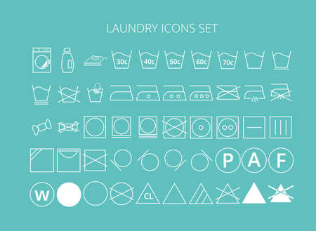 laundry icons set Stock Illustratie