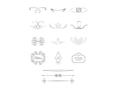 vector objects calligraphic design set  イラスト・ベクター素材