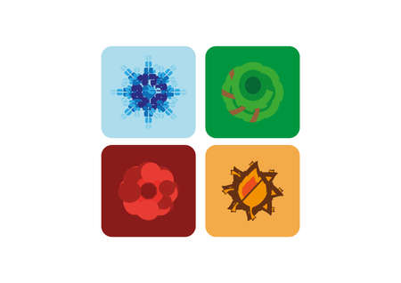 four seasons vector objects set