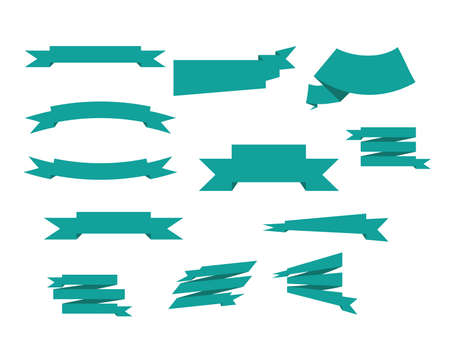symbol vector: banner ribbons vector set