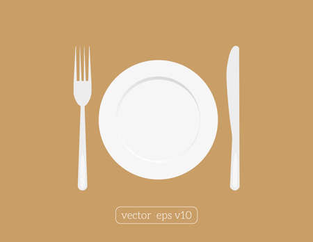 Plate dish with fork and knife. Eat sign icon.